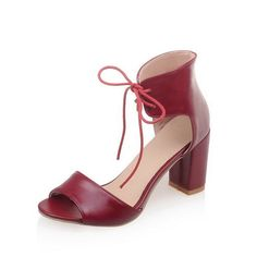 VogueZone009 Women's Lace Up Pu Open Toe High Heels Solid Heeled-Sandals -- Click image for more details.