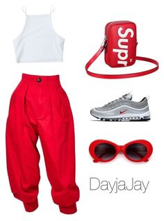 """""""Little red"""" by dayjajay on Polyvore featuring Yves Saint Laurent, NIKE, Louis Vuitton, summerstyle and CasualChic #clubdresses"""