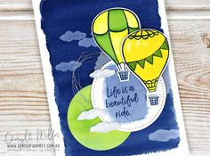 Using Above the Clouds stamp set and Hot Air Balloon Punch for the Global Design Project Colour Challenge this month. Night of Navy, Granny Apple Green, Pineapple Punch. Pineapple Punch, Navy Background, Above The Clouds, Colouring Techniques, Global Design, Dark Backgrounds, Hot Air Balloon, White Ink, Stampin Up Cards