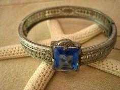 silver itams 1920-1930 art deco | SALE - Vintage Art Deco Filagree Sapphire Glass PS Co. Bracelet ...