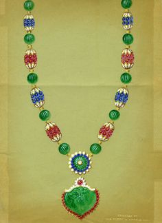#TreasuresoftheOrient exhibition through May 31 at Van Cleef & Arpels Stoleshnikov boutique in Moscow #HighJewelry - Drawing of Indian inspired necklace, circa 1965-70, of the Maharani of Baroda  © Van Cleef & Arpels Archives