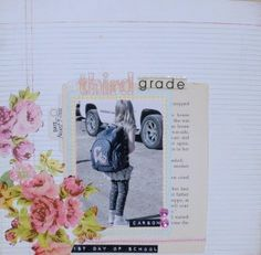 Ginger John's Third Grade 12×12 Layout using the Sweet Elegance kit    lithe black dress kit club scrapbook 12x12 layout