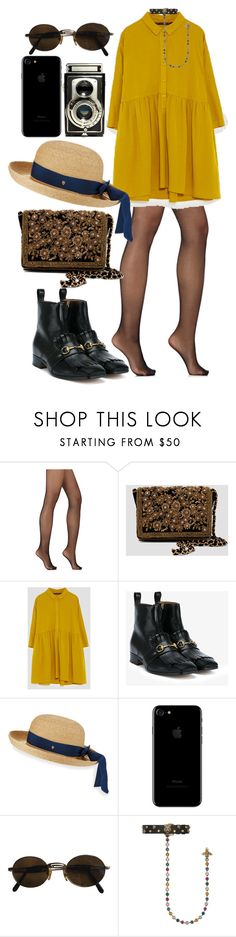 """Untitled #1284"" by veronice-lopez ❤ liked on Polyvore featuring Wolford, Gucci, Helen Kaminski, Moschino, date and my"