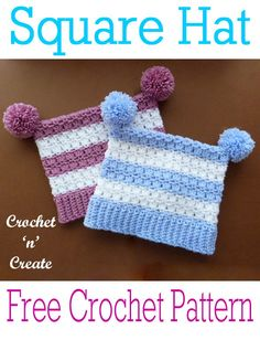 Cute adult crochet square hat - A fun and stylish hat that can be made in one or two colors and with or without pom-poms. Free Crochet Square, All Free Crochet, Crochet Squares, Single Crochet, Free Knitting, Crochet Baby, Crochet Borders, Filet Crochet, Crochet Designs