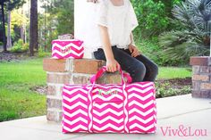 Viv  Lou Pink Chevron Duffle Bag #Monogram #Graduation #Gifts #Travel #Vacation #Pink