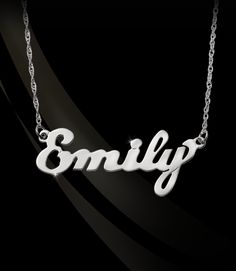 Jane Basch Designs - Small Script Nameplate Necklace, $162.50 (http://store.janebasch.com/small-script-nameplate-necklace/)