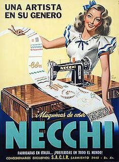 Vintage Necchi ad from Argentina. 'An Artist and Her Fabric'. Vintage Advertisements, Vintage Ads, Vintage Posters, Vintage Pictures, Vintage Images, Machine Image, Pin Up Girl Vintage, Retro Housewife, Sewing Machine Accessories