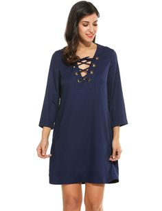 Navy blue Women Lace-up V-Neck 3/4 Sleeve Solid Straight Short Casual Dresses