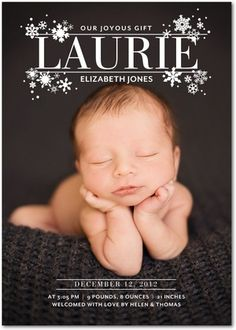Winter Girl Birth Announcements Snowflake Namesake - Front : White