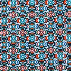 Kinderstoffen Jersey - Bloem Retro Blauw