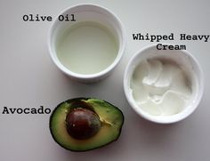 one avocado  2 tablespoons olive oil  2 tablespoons water  2 tablespoons heavy cream.  mix all n put in hair for like an hour n wash it off with organic shampoo...to help with dry/damaged/brittle hair