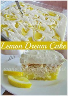 Lemon Dream Cake...only thing I did different to this cake is for icing I'd mix a block of cream cheese with some con sugar add cool whip and icing and maybe just a drop of almond extract...yum yum
