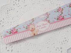 Adesivo para potinho papinha Ursinha floral azul e rosa - Listras