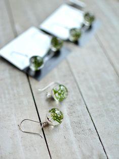 Solid Sterling Silver Light Blue Real Flower Petal Stud Earrings Glass Ball