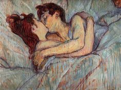 """Painting by Henri de Toulouse-Lautrec (1864-1901), 1892, In Bed: The Kiss, Oil on cardboard, Private Collection. Lautrec captures two prostitutes from a brothel in a lip-locked moment of lesbian love. He supposedly said, """"This is better than anything else. It is the very epitome of sensual delight."""""""