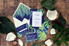 Tropical Elegant Wedding Invitation Suite, Calligraphy Tropical Wedding Invite, Navy Blue Boho Wedding Paper Suite, Pantone 2017  This listing is for a sample set.  Make custom invitations for any special occasion  Free Shipping Priority Mail on all orders.   PRINTING AND PAPER QUALITY   Our invitations are printed on premium quality cardstock using commercial press. We are using only the absolute best in printing and paper, giving your stationery the highest level of quality.   SAM...