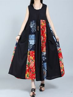 Gracila Vintage Patchwork Sleeveless Hooded Women Maxi Dresses
