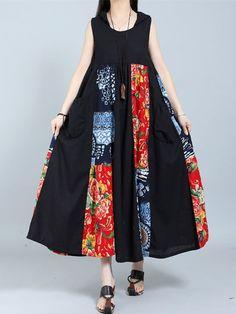 Gracila Vintage Patchwork Sleeveless Hooded Women Maxi Dresses