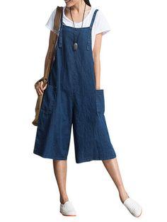 Women Loose Denim Blue Strap Pocket Jumpsuit Trousers at Banggood