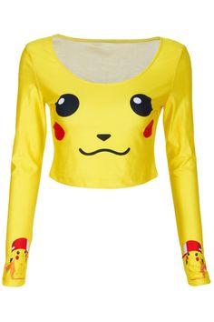 ROMWE | Pikachu Face Print Yellow T-shirt, The Latest Street Fashion