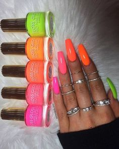 If you have problem with long nails, then try Acrylic Nails or artificial nails. Listed below are the Best Acrylic Nails Ideas for 2019 to take inspiration. Neon Acrylic Nails, Neon Nails, My Nails, Bright Nails Neon, Neon Nail Colors, Neon Orange Nails, Neon Nail Art, Colorful Nail Art, Acrylics Nails For Summer