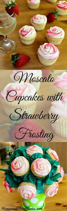 Moscato Cupcakes with Strawberry Frosting made from scratch with real strawberries Light and fluffy and amazing flavor A perfect desserts recipe for a special event or pa. Brownie Desserts, Mini Desserts, Just Desserts, Delicious Desserts, Dessert Recipes, Baking Desserts, Wine Recipes, Strawberry Frosting, Strawberry Cupcakes