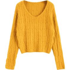 Textured Cropped Cable Knit Sweater Mustard (29 BAM) ❤ liked on Polyvore featuring tops, sweaters, cable knit sweater, mustard crop top, mustard yellow top, cropped sweater and yellow crop top