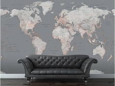 Fashionable World Map wall mural for any room throughout your home. In-vogue Grey and Orange themed world map mural fits perfectly in any modern lounge, study, bedroom or office. The size of this wall mural is wide x high. World Map Mural, World Map Wallpaper, Of Wallpaper, World Map Wall Decal, Wall Maps, Wall Mural, Modern Lounge, My Living Room, My New Room