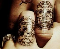 Sugar skull tattoo wedding rings