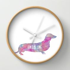 Dachshund Art Wall Clock by Uma Gokhale - $30.00 #Dachshund #art #paint #watercolor #art #quote #message #clock #creative #vibrant 3dog #animal