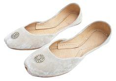 Khussa white velvet evening slippers