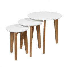 Abin coffee table set, oak/white – Coffee tables - ID Design Interieurs - Living room Media Table, Wooden Table Top, Table Dimensions, Affordable Furniture, Nesting Tables, Design Furniture, White Decor, Decoration, Living Room Furniture