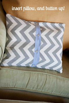 upcycle button up shirt to make a pillow cover!