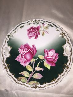 Hand Painted Details Pink Roses Open Handled Cake Plate Weimar Germany Signed #Weimar