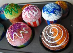 Fake cupcakes- could be holiday themed and used as a centerpiece!