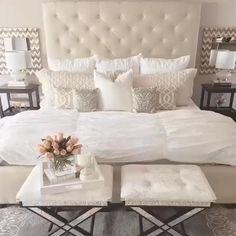 Romantic Bedroom Decor, Cozy Bedroom, Home Decor Bedroom, Glam Bedroom, Pretty Bedroom, Spa Inspired Bedroom, Girls Bedroom, White Rustic Bedroom, Cream And White Bedroom