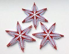 Fiocchi di neve albero di natale bianco rosso decorazione inverno ornamenti regali Toppers riempitivi ufficio aziendale carta Quilling arte fatta a mano Quilled