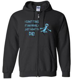 nice Rick and Morty, Mr Meeseeks Just Wants to Die Unisex zip hoodie