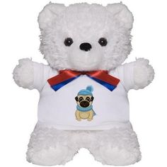 Winter Pug Teddy Bear from cafepress store: AG Painted Brush T-Shirts. #pug #Winter #teddybear