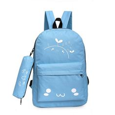 2016 New Arrival Canvas Backpack Student School Bag And Pencil Bag Travel Shoulder Bag Special Printing Rucksack Satchel XA1158D