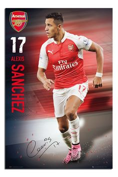 Arsenal- Sanchez Poster 24 x Official Licensed Product Shipped from the UK See below for full product description Arsenal Fc, Arsenal Players, Epl Football, Official Nfl Football, Arsenal Football, Peugeot, Alexis Sanchez, Soccer Poster, Fernando Torres