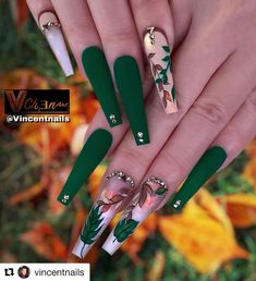 50 Beautiful Nail Art Designs & Ideas Nails have for long been a vital measurement of beauty and Aycrlic Nails, Glam Nails, Hot Nails, Bling Nails, Best Acrylic Nails, Acrylic Nail Designs, Nail Art Designs, Green Nail Designs, Nail Swag