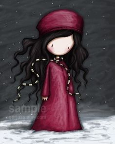 Winter Solstice - 8 x 10 Giclee Fine Art Print - Gorjuss Art via Etsy Cute Images, Cute Pictures, Winter Solstice, Illustrations, Cute Dolls, Cute Illustration, Cute Art, Painted Rocks, Chibi