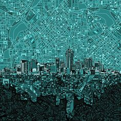 Denver Skyline Abstract 5 by MB Art factory