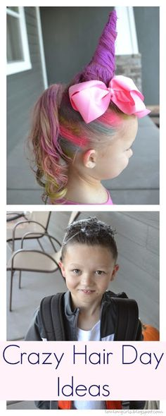 Crazy Hair Day Ideas! Rainbow unicorn, and spooky spider black hair ideas for Crazy hair day at your child's school. Kids will go crazy for these fun ideas, and it's really easy to do!