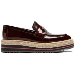 Prada Leather flatform loafers ($895) ❤ liked on Polyvore featuring shoes, loafers, burgundy, formal loafers, loafer shoes, bow shoes, prada shoes and flatform loafers