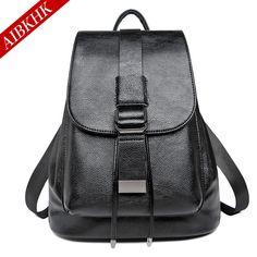 AIBKHK Fashion Genuine Leather Women Backpack Hot High Quality Famous Brand Preppy Style String Women School Bag Girl Travel Bag #Affiliate