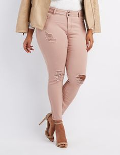 bcc43637b9a13 Celebrity Pink Trendy Plus Size Colored Wash Skinny Jeans - Green ...