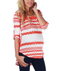 Take a look at this PinkBlush Maternity Orange Maternity Top on zulily today!