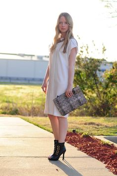 White dress, black booties
